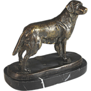 Bronze Sculpture of a Spaniel after Antoine Louis Barye (1795- 1875)