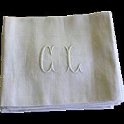 SOLD Antique French Monogrammed Napkins C L Set of 10 Lapkins