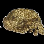 Antique French Signed Dore Bronze Dog Vide Poche Sculpture, Irish Setter