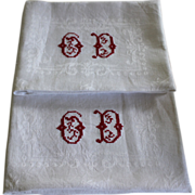 Pair of Vintage Monogrammed French Napkins, Lapkins O or G D