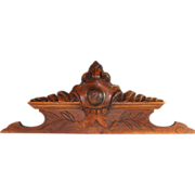 French Antique Carved Mahogany Pediment Wood Panel Architectural element