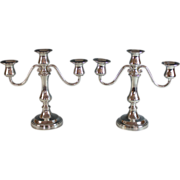 Pair of Silverplate Three Arm Candelabra Reed & Barton Silver Plate Candle Sticks