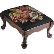 Antique Carved Foot Stool with Black Needlepoint Top, Footstool