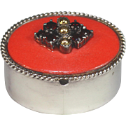 Vintage Sterling silver Pill Box Pillbox with Garnets and Red Enamel Top