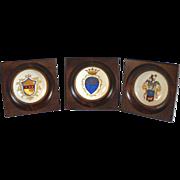 Three Antique Italian Heraldic Miniature Plates Hand Painted and Signed