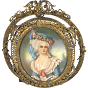 Hand Painted Miniature Portrait Gilt Bronze Filigree Frame Madame Lamballe