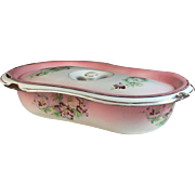 Antique French Enamelware Granite ware Baby Bath Pink with Flowers