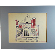 Original mixed media painting by Raoul Pene  Du Bois: Roof Top View
