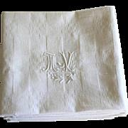 SOLD Antique French Linen Monogrammed Napkins, Set of Six MV