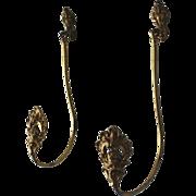 Pair of Antique Gilded Bronze Drapery Curtain Tie Backs, Tiebacks