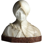 Marble Bust of a Hooded Woman by Italian Sculptor Giuseppe Gambogi (1862-1935)