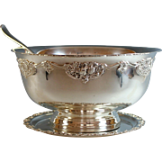 Extra Large Silverplate Punch Bowl with Ladle and Plate Silver Plate
