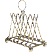 Antique French Silverplate Toast Rack Golf Clubs Silver Plate