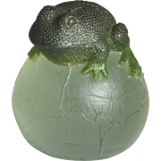 French Glass Frog Paperweight Presse Papier Signed