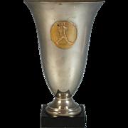 1930's Trophy Cup Vase Bronze Medal by E. Fraisse Speed Walking