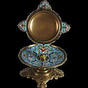 Antique French Cloisonne Pocket Watch Holder Porte Montre
