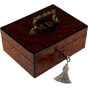 Antique French M D Monogram Box with Working Key