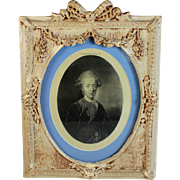Antique Portrait on Silk of an 19thC Gentleman in Period Bow Top Frame
