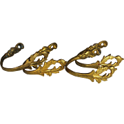 SOLD Two Pairs of Antique Gilded Bronze Drapery Curtain Tie Backs, Tiebacks