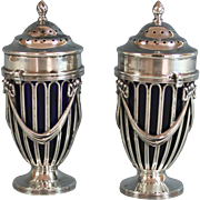 Antique English Sterling Silver Salt & Pepper with Cobalt Lining Haseler Brothers