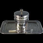 Vintage Silverplate Cobalt Glass-lined Marmalade Jar w Spoon & Tray