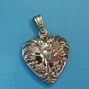 Vintage Sterling silver  Large Puffy Heart Necklace Pendant