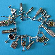 Vintage Sterling Silver Cocktail Charm Bracelet - RARE Crystal Glass Set ~