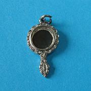 Vintage Sterling Silver Bracelet Vanity Mirror Charm