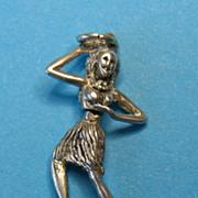 Vintage Sterling Silver Hula Dancer Charm - Moves