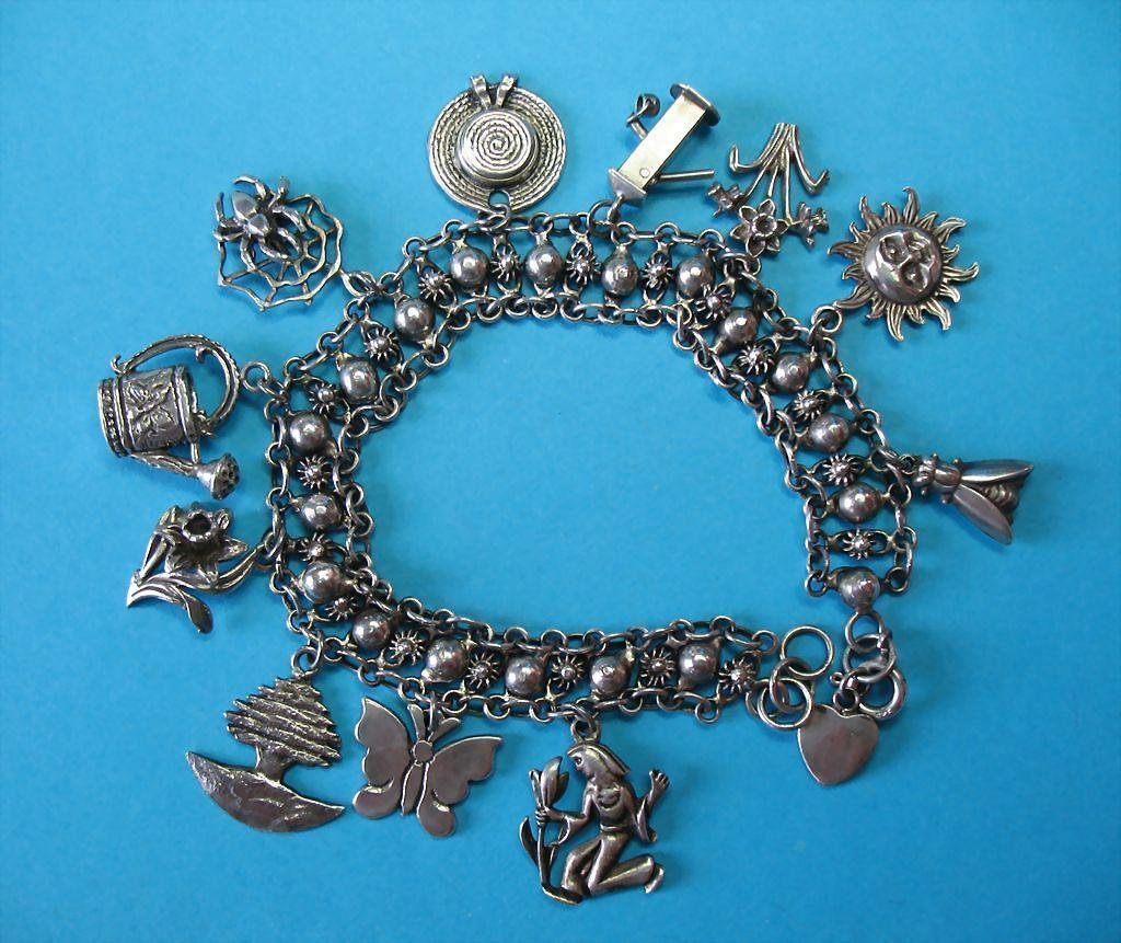 Vintage Sterling Silver Fun Garden Themed Bracelet