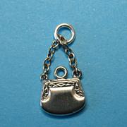Vintage Silver Purse Bracelet Charm