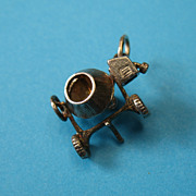 RARE Vintage Sterling Silver Workman's Cement Mixer - Moves
