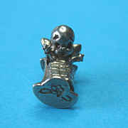 Vintage European Silver Baby Kewpie In Rocking Cradle Charm