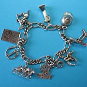Vintage Sterling Horse Racing Theme Charm Bracelet
