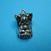 Vintage Sterling Mouse In Bed Necklace Charm Pendant