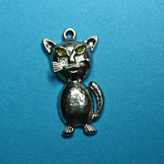Vintage Sterling Silver Wells Cat Charm