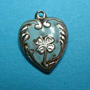 Vintage Sterling Enamel Shamrock Puffy Heart Charm