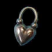 Victorian c1885 Sterling Silver English Puffy Heart Padlock Charm - RARE