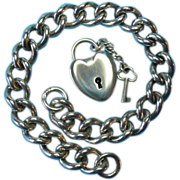Sterling 1902 Frederick Marson Bracelet With Sterling Puffy Heart Padlock & Key Charm