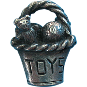 """Vintage Rare Silver Plated """"Toys"""" Basket Charm"""