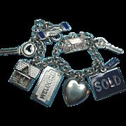 Vintage Sterling Silver Realtor Themed Charms Bracelet 800 Silver