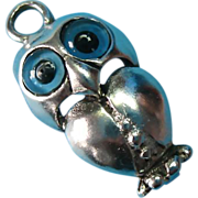 Vintage Sterling Silver Owl Charm Glass Eyes