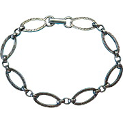 Vintage Sterling Silver c1900 Etched Design Link Bracelet