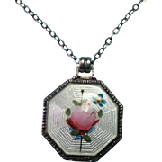 Vintage Sterling Silver Guillouche Painted Rose and Forget Me Not Flower Necklace Pendant Char