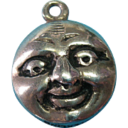 Vintage Sterling Silver Double Faced Moon Charm Rare