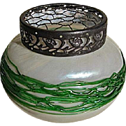 Kralik MOP Glass Vase with Green Threads
