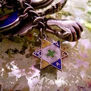 Vintage Silver Enamel Star Charm