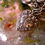 "Vintage Sterling Silver Hearts and Arrow Puffy Heart ""B&L"" Charm"