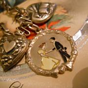 "SALE Vintage  Sterling Enamel ""Love Story"" Puffy Heart Charm Bracelet"