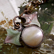 Antique Silver Guilloche Enamel Berries with Blister Pearl Charm